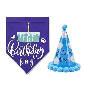 Amazon.com: Toozey - Bandana de cumpleaños para perro con ...