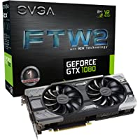 EVGA GeForce GTX 1080 FTW2 GAMING, 8GB GDDR5X, iCX Technology - 9 Capteur thermiques& RGB LED G/P/M, Aysnch Fan, Conception de flux d'air optimisé Carte Graphique 08G-P4-6686-KR
