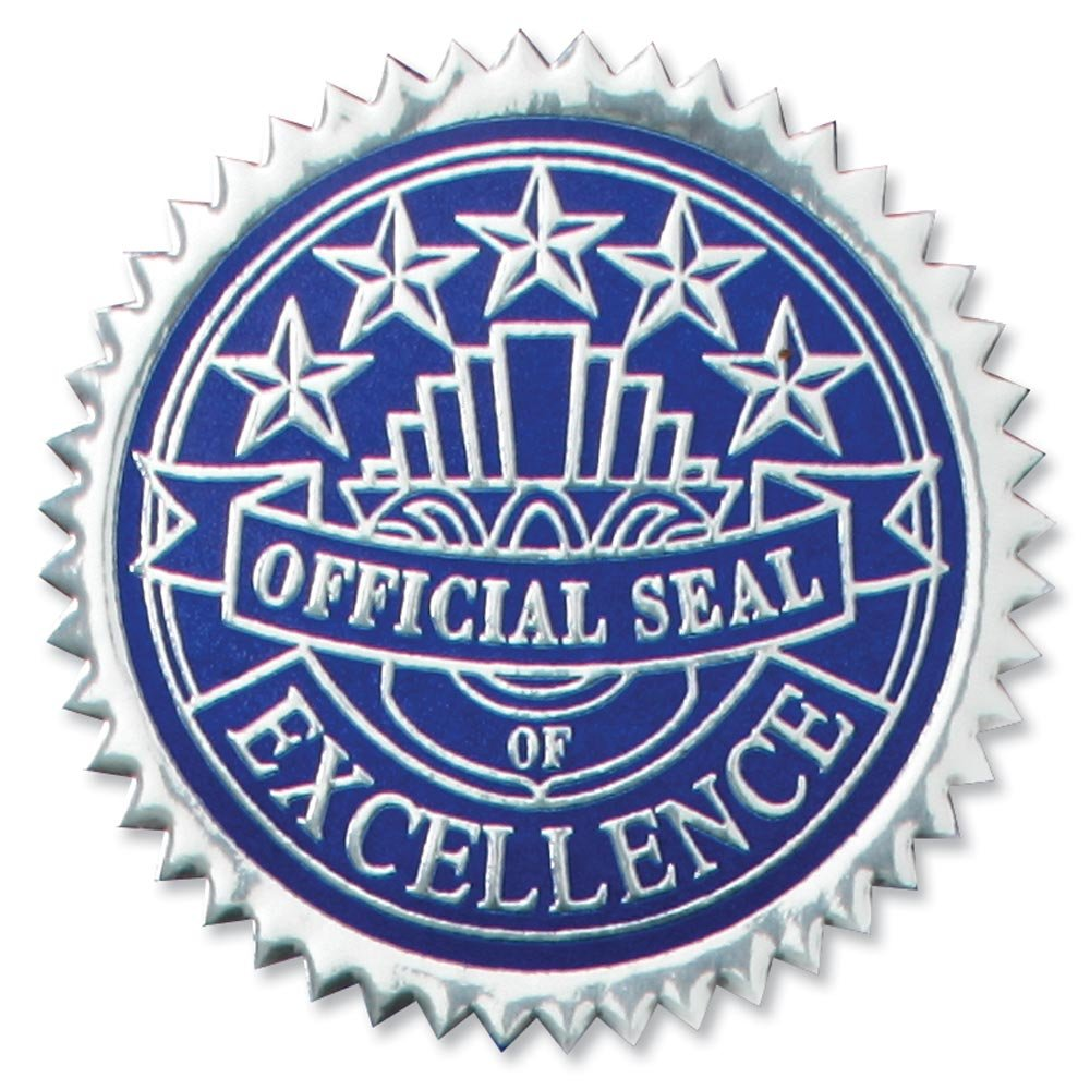 Deluxe Embossed Excellence Silver and Blue Foil Certificate Seals, 2 Inch, Self Adhesive, 102 Count