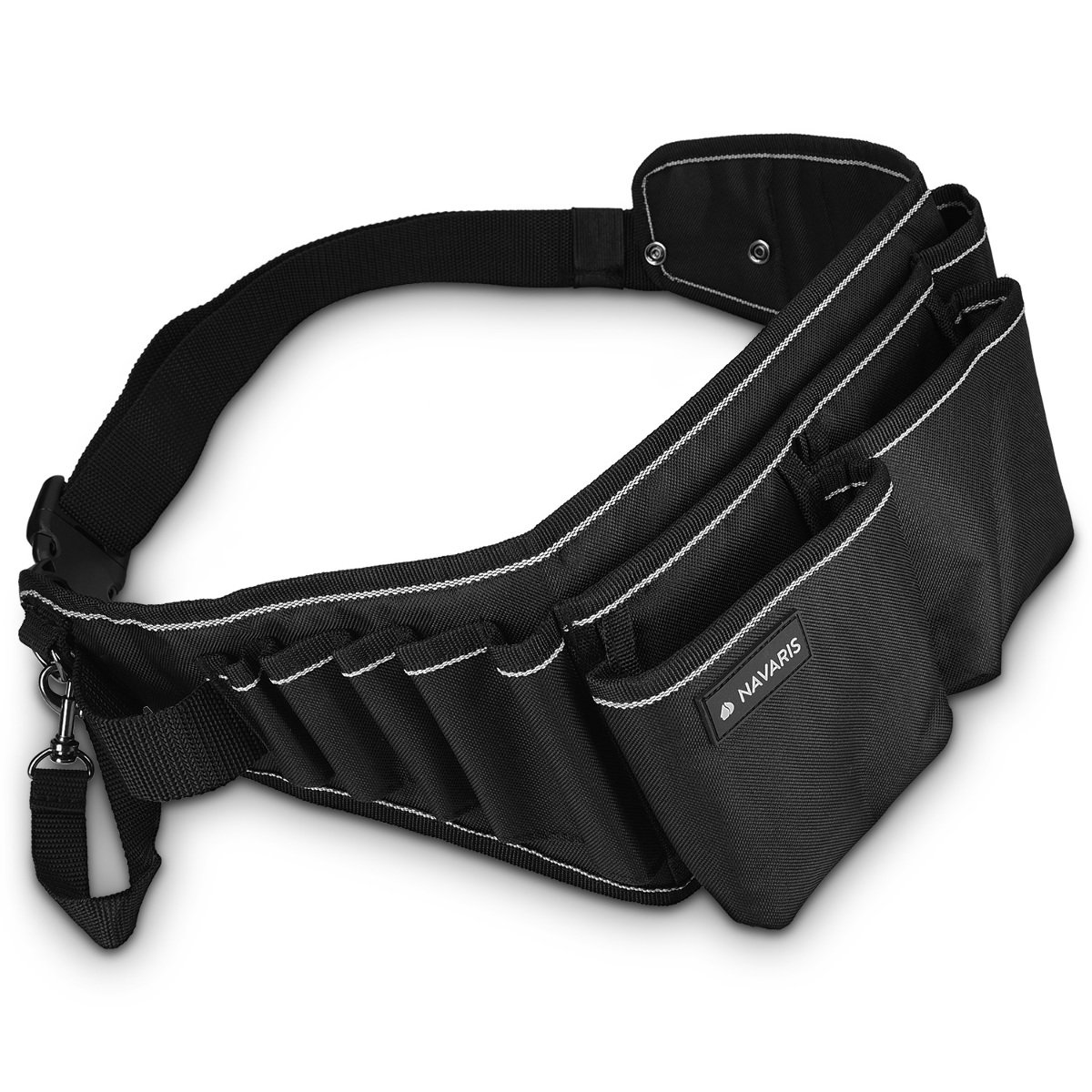Navaris Tool belt with buckle closure - Many compartments for tools - Hard-wearing craftsman belt tool bag in black gray
