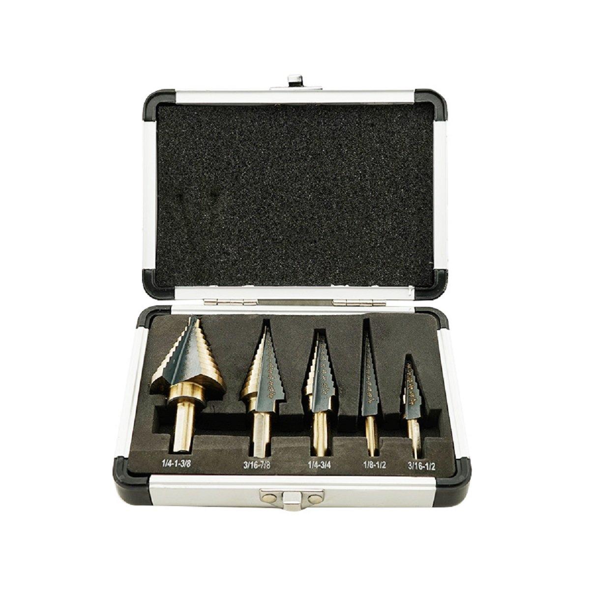 ixaer HSS Drill Bit-5PCS HSS COBALT MULTIPLE HOLE 50 Sizes STEP DRILL BIT SET w/ Aluminum Case
