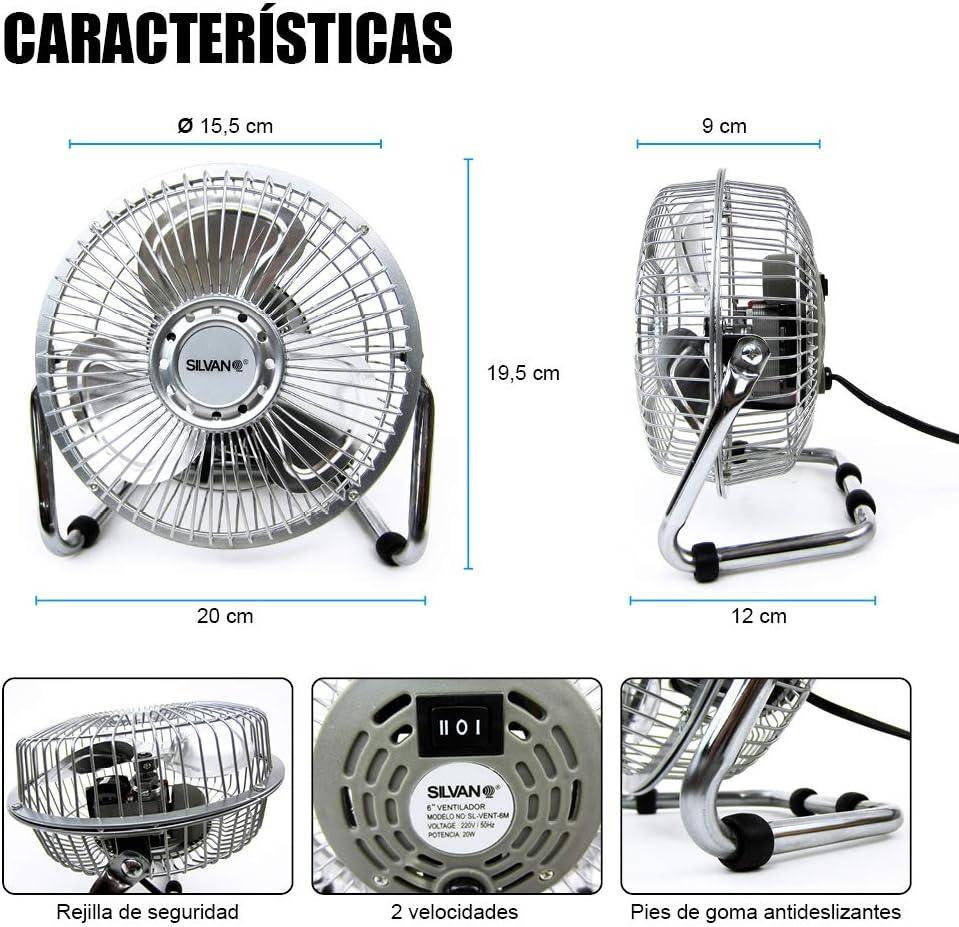 Ventilador Silvano pequeño 15.24cm.modelo:SL-VENT-6M Plata,: Amazon.es: Hogar