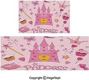 "RWNFA Compatible Floor Mats 2piece Suit,Little Princess Tiara Slippers Fairy Castle Heart Lollipop Wand Cupcake Girls Party Print Decorative 16""x24""by18 x46 Multicolor,with Slip Skid Resistant B"