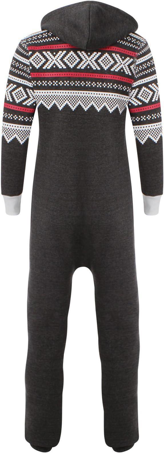 Fashion Kinder Jungen M/ädchen Unisex Plain Strampler mit Kapuze In einem Jumpsuit Gr/ö/ßen 7-14 Jahre Black /& grau
