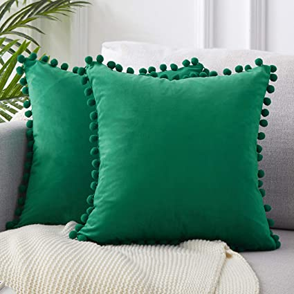 Top Finel Decorative Throw Pillow Covers with Pom Poms Soft Particles Velvet Solid Cushion Covers 18 X 18 for Couch Bedroom Car, Pack of 2, Dark Green