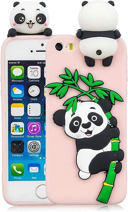 3C Collection Cover iPhone 5S Silicone Panda, Cover iPhone 5SE Silicone Panda, Cover 3D Animali in Silicone Morbido per iPhone 5 5S 5SE Custodia Rosa ...