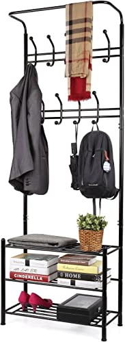 HOMFA Metal Entryway Coat Shoe Rack 3-tier Shoe Bench with Coat Hat Umbrella Rack 18 Hooks Black