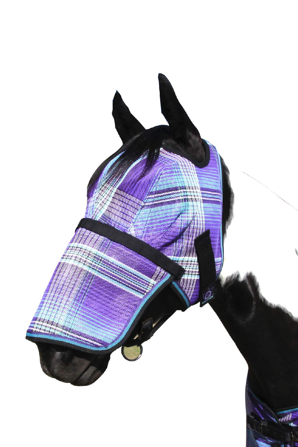 Kensington Signature Removable Nose Fly Mask - Protects Horses Face Nose from Insects, UV Rays, While Allowing Full Visibility - Ears Forelock Able to Come Through The Mask (M, Lavender Mint) by Kensington Protective Products