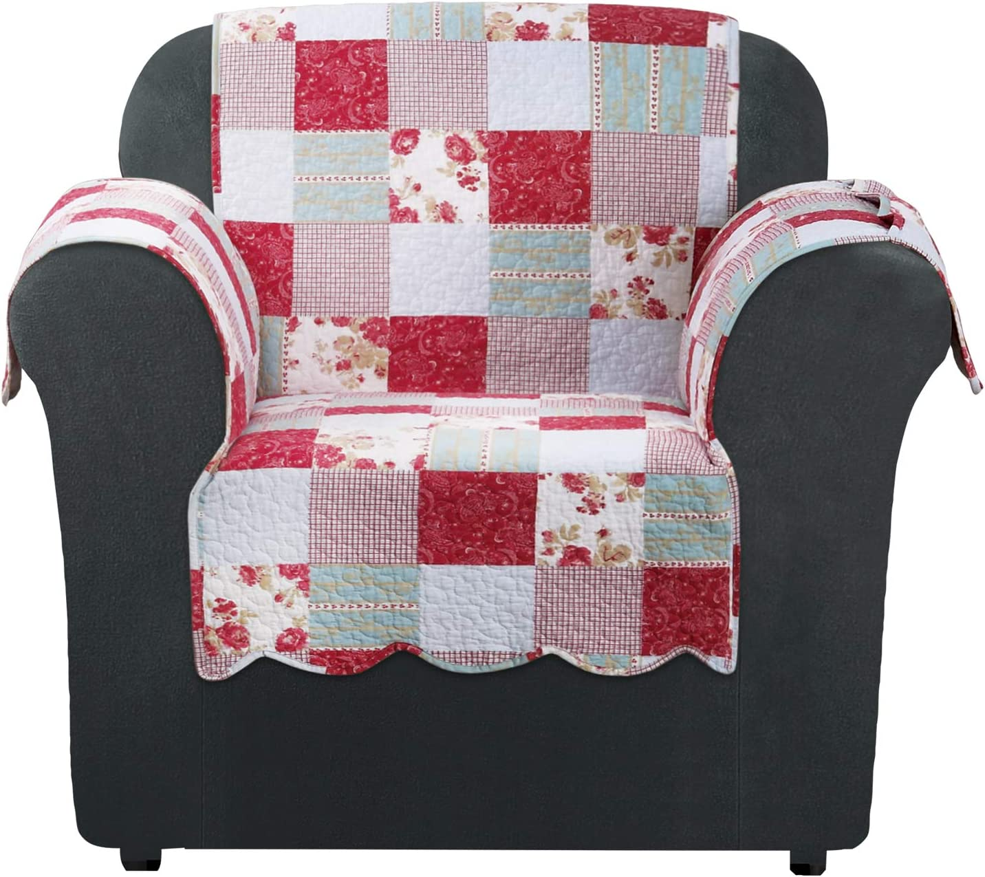 SureFit Heirloom Quilted Pet Chair One Piece Furniture Throw Cover, Relaxed Fit, Cotton, Machine Washable, Cottage Patchwork Color