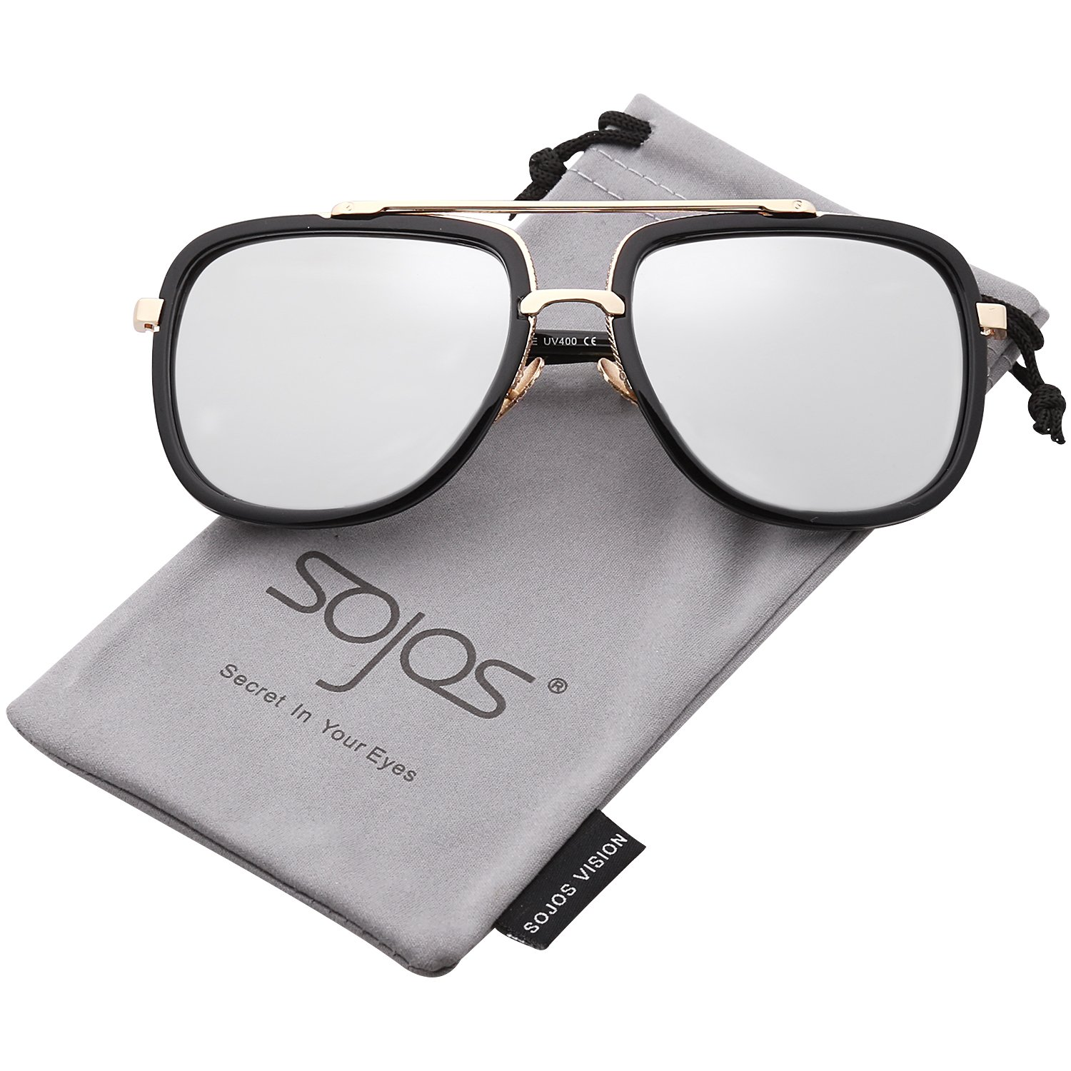 dc37516bf0 Amazon.com  SOJOS Classic Square Aviator Sunglasses Oversized Double Bar  Metal Frame SJ1080 with Black Frame Silver Mirrored Lens  Clothing
