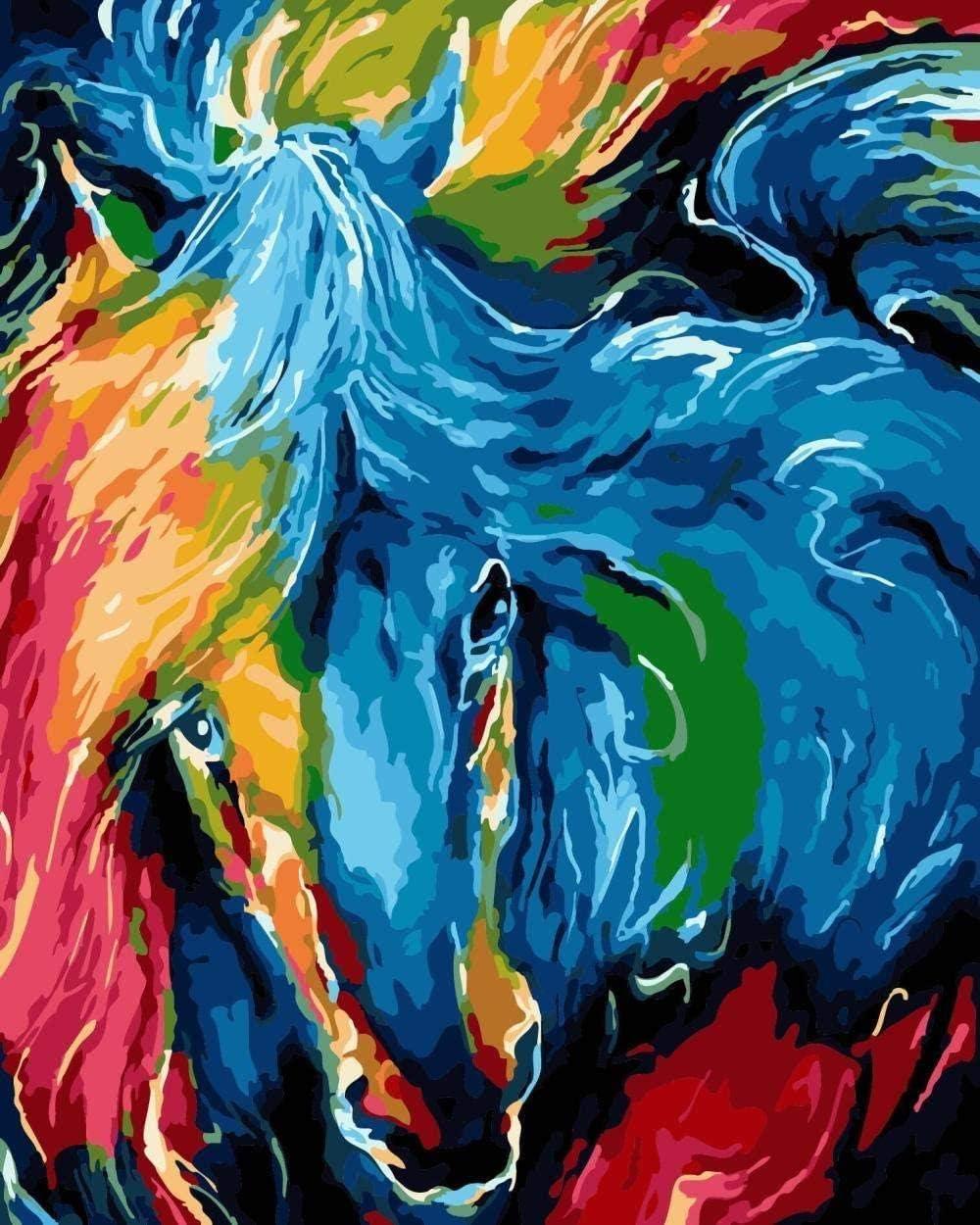 Pintura por números pintura al óleo digital abstracto caballo dibujado para niños adultos estudiantes principiantes arte de la pared cuadros lienzo 40 x 50 cm