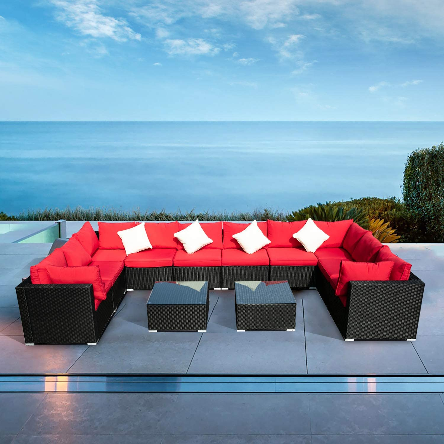 Klismos Outdoor Patio Furniture Set Rattan Wicker Sectional Sofa Conversation Set with Coffee Table and Pillows(Red 12PCS)
