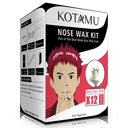 Nose Wax Kit KOTAMU Nose Hair Removal Wax Home Use Nose Waxing Kit Men and Women with 80g Nose Wax Beans 24 Wax Sticks Applicators best home waxing kit
