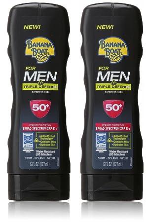 Banana Boat Sunscreen for Men Triple Defense Broad Spectrum Sun Care Sunscreen Lotion – SPF 50, 6 Ounce 2 Pack