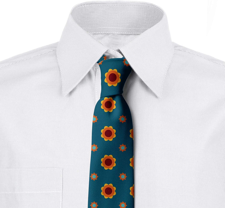 Flower and Sun Motifs 3.7 Petrol Blue Multicolor Ambesonne Mens Tie