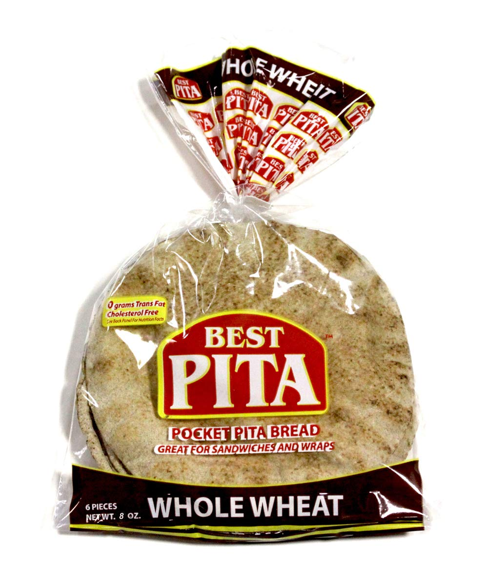 Best Pita, Authentic Hearth Baked Whole Wheat Pocket Pita Bread, Naturally Vegan, Certified Kosher, Cholesterol Free, 8oz. (12 Bags)