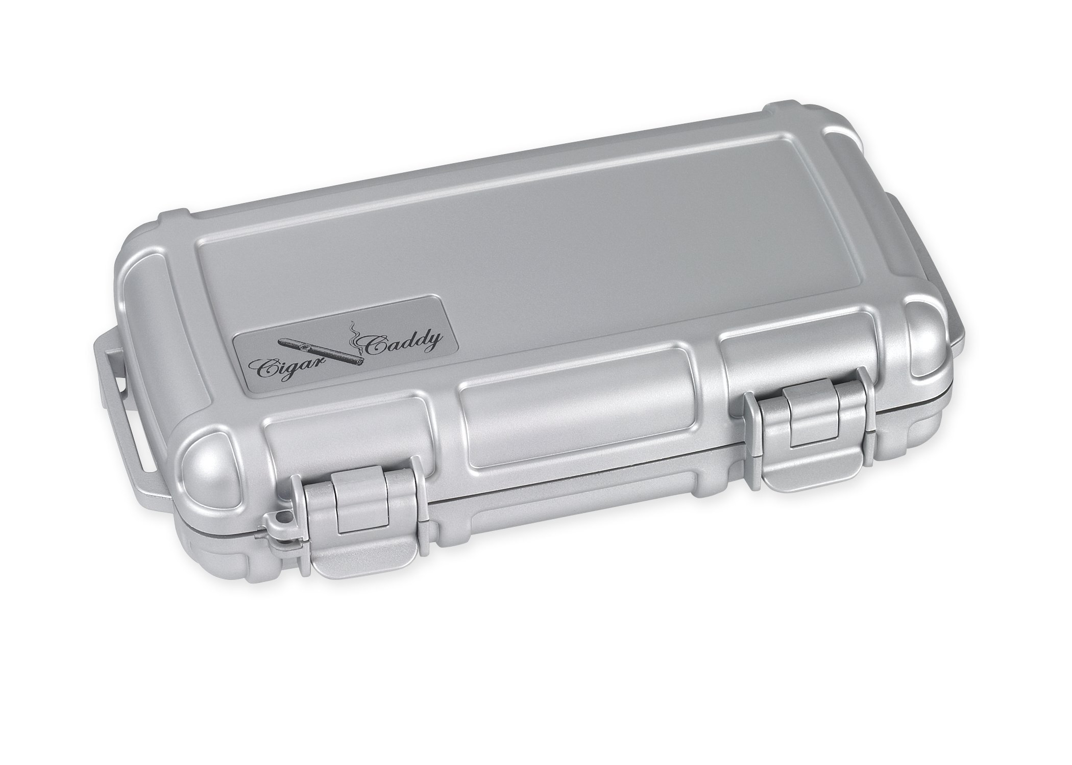 Cigar Caddy 3400-R Silver 5 Cigar Waterproof Travel Humidor, Silver Rubberized Exterior