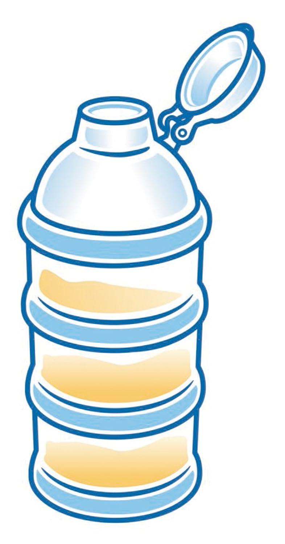 NUK 10256342 - Dosificador de leche en polvo (3 compartimentos, sin BPA), color azul y blanco translúcido