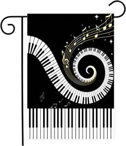 Chic D Music Musical Notes with Piano House Flags Garden Decor Mini Yard Banner,100% Polyester