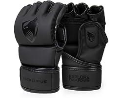 Liberlupus MMA Gloves for Men & Women, Kickboxing Gloves with Open Palms, Boxing Gloves for Punching Bag, Sparring, Muay Thai