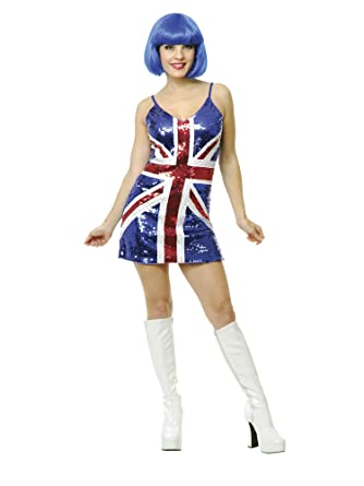 Amazon.com  Adults Womens Red Blue 60s Twiggy British Flag Sequin Dress  Costume  Clothing 58597dc6db