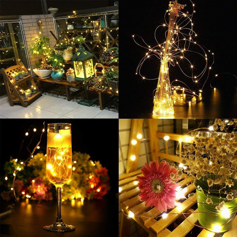 Elebor LED Fairy Lights, 2 Packs 33ft 100LED Remote Control Waterproof Deco Rope Lights Battery Operated String Lights Copper Wire Lights for Christmas (Warm)