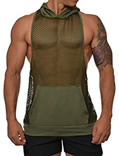 bf046cee699da5 COOFANDY Mens Workout Tank Fishnet Muscle See Through T Shirt Sexy Mesh  Transparent Tees Top