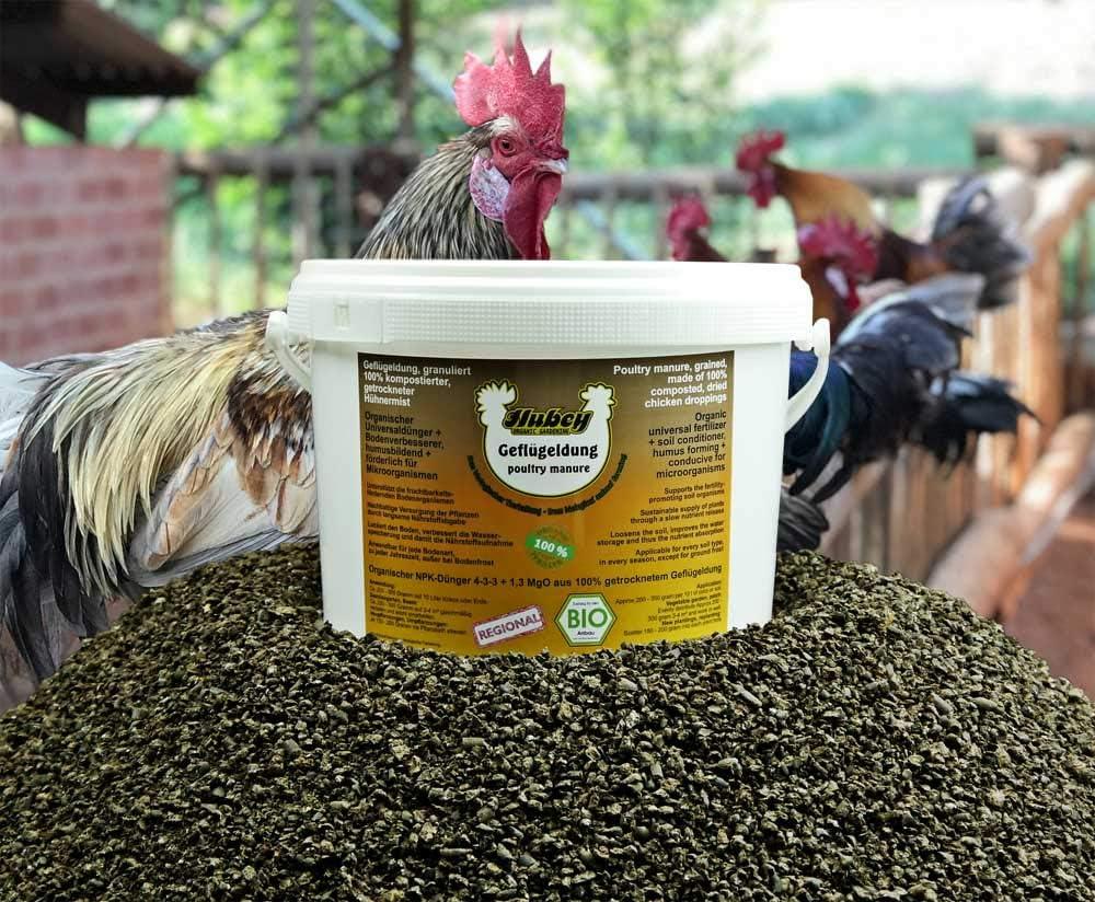 hubey - Fertilizante orgánico para Aves de Corral - 1, 8 kg de Cubo - para Pollos - para el Cultivo del Suelo - Fertilizante Natural biológico - Abono Universal: Amazon.es: Jardín