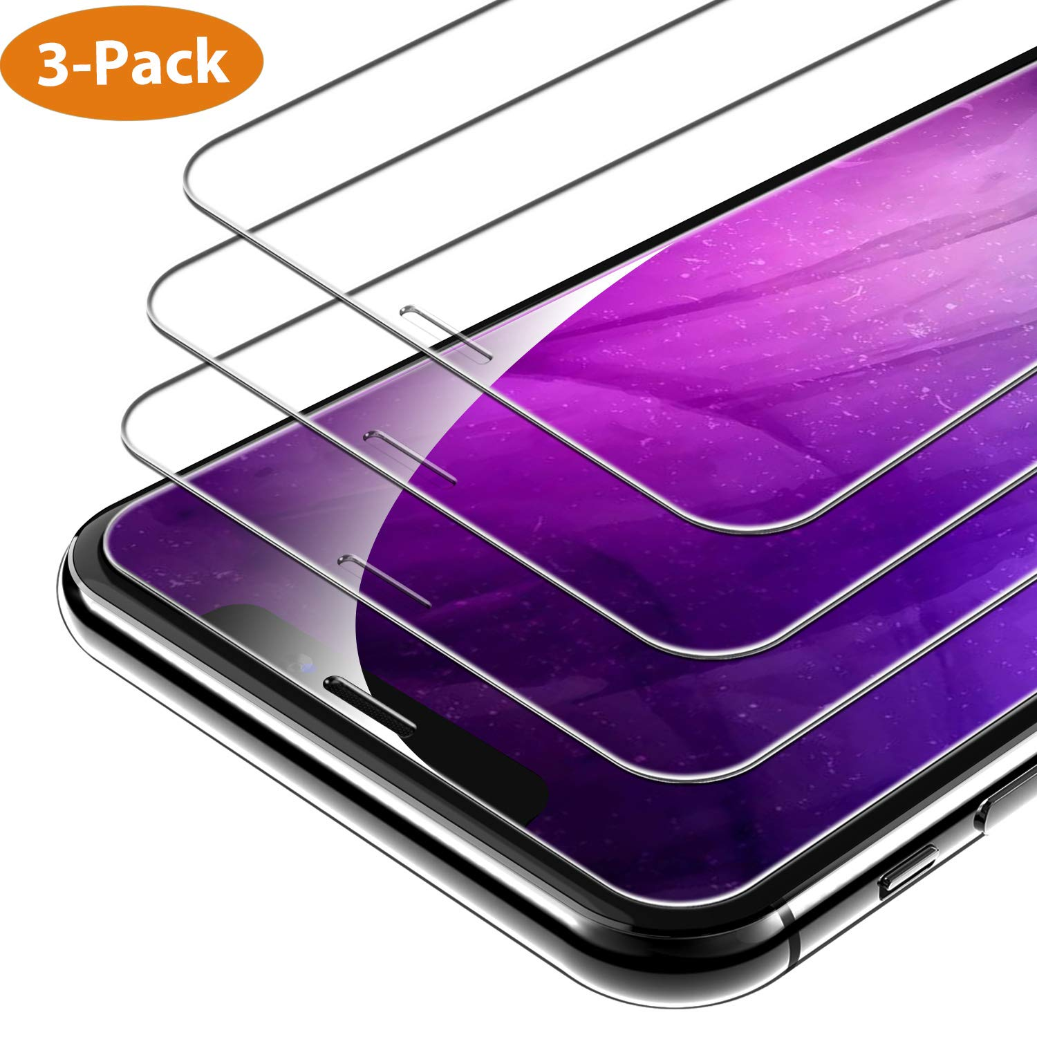 Syncwire iPhone XS/X Screen Protector [3-Packs], 9H Hardness Anti-Fingerprint Tempered Glass for iPhone XS/X [Screen-Alignment Frame Included, Bubble-Free, Face ID Protection] by Syncwire
