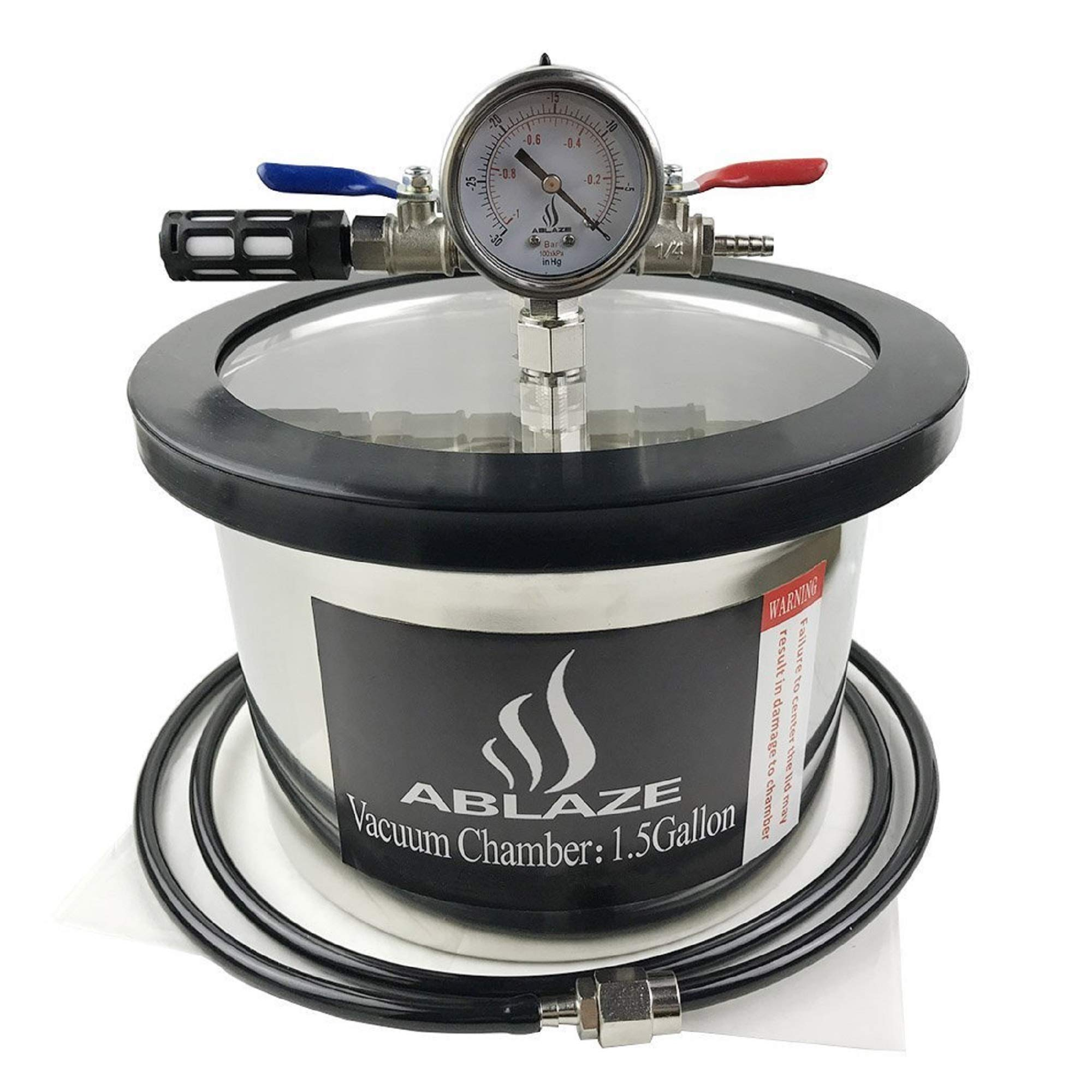 ABLAZE 1.5 Gallon Stainless Steel Vacuum Degassing Chamber and 3 CFM Single Stage Pump Kit by Ablaze (Image #2)
