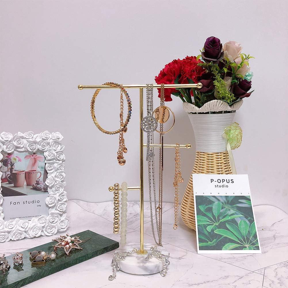 Pr/ésentoir /à bijoux en m/étal en forme de barre en T pour bijoux boucles doreilles plateau rond en marbre pour bijoux porte-bijoux bagues bracelets boucles doreilles
