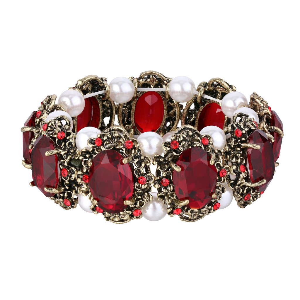 BriLove Antique-Gold-Toned Bracelet Simulated Pearl Crystal Victorian Style Multi Floral Cameo Inspired Oval Stretch Bracelet for Women Ruby Color by BriLove