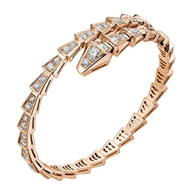 59bc921d327 Amazon.com  BVLGARI Inspired Womens Serpent Snake Bracelet (Rose Gold)   Jewelry