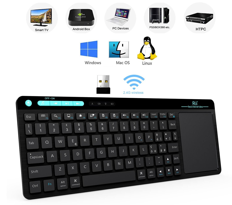 Rii i18 Mini teclado inalámbrico (layout italiano), retroiluminado, con panel táctil, para Smart TV, mini PC, HTPC, consola, ordenador: Amazon.es: ...