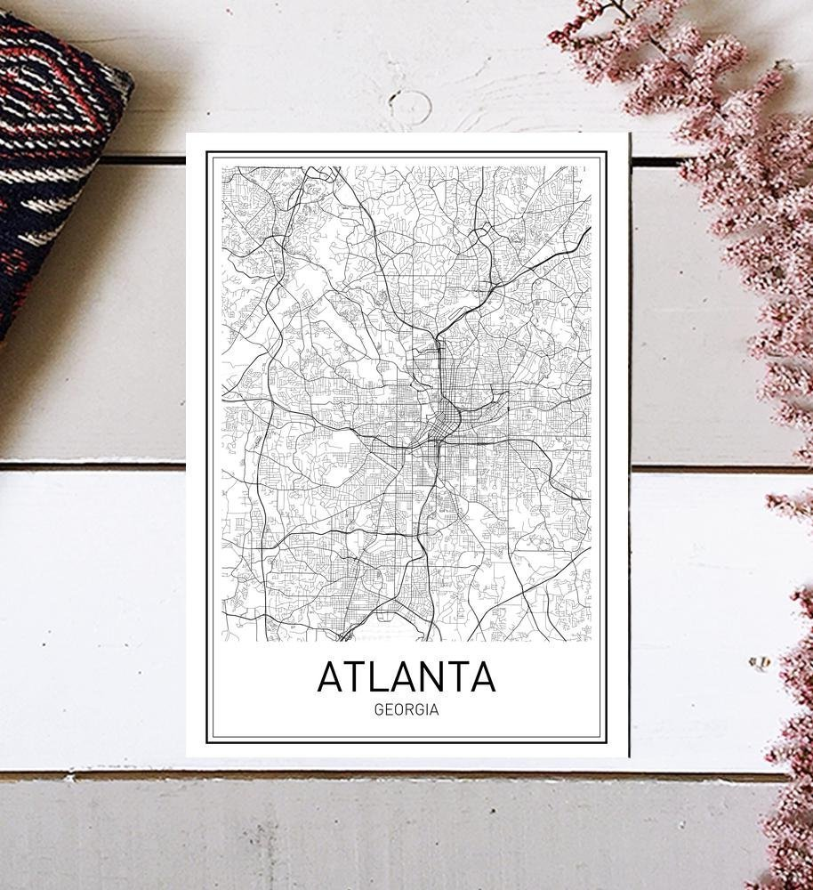Atlanta Poster, Map of Atlanta, Atlanta Map, City Map Posters, Modern Map Art, City Prints, Atlanta Art, Minimal Print, Atlanta Texas, City Poster, City Map Wall Art, minimalist posters, 8x10 by MotivatedWallArt