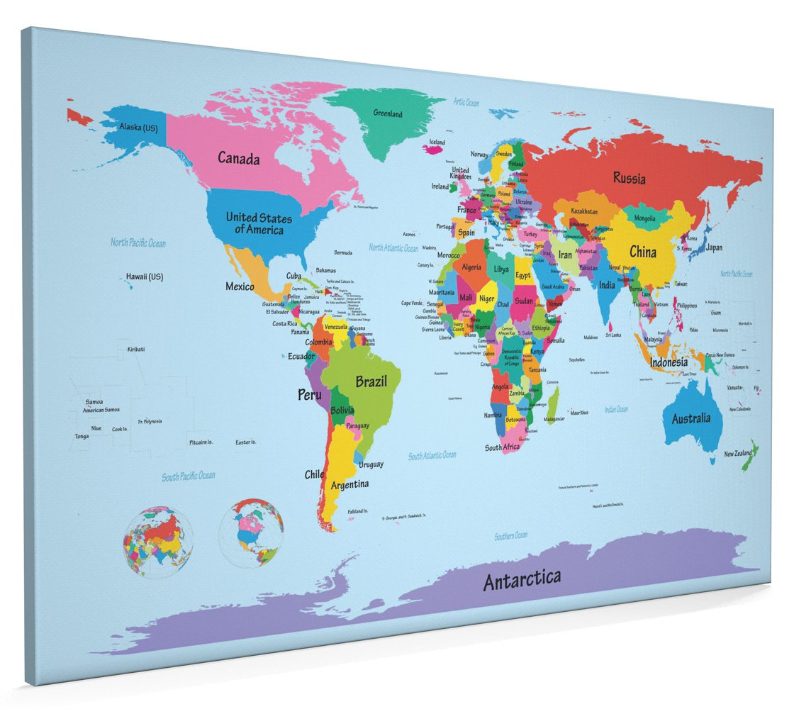 Map of the World Map with Big Text for Kids, Canvas Art Print, 22x34 inch  (A1) - 901