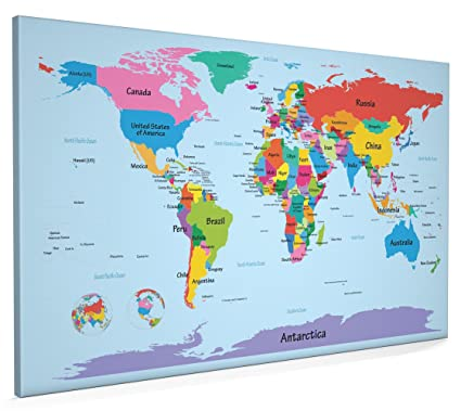 Map Of Uk Showing 4 Countries.Map Of The World Map With Big Text For Kids Canvas Art Print 22x34 Inch A1 901