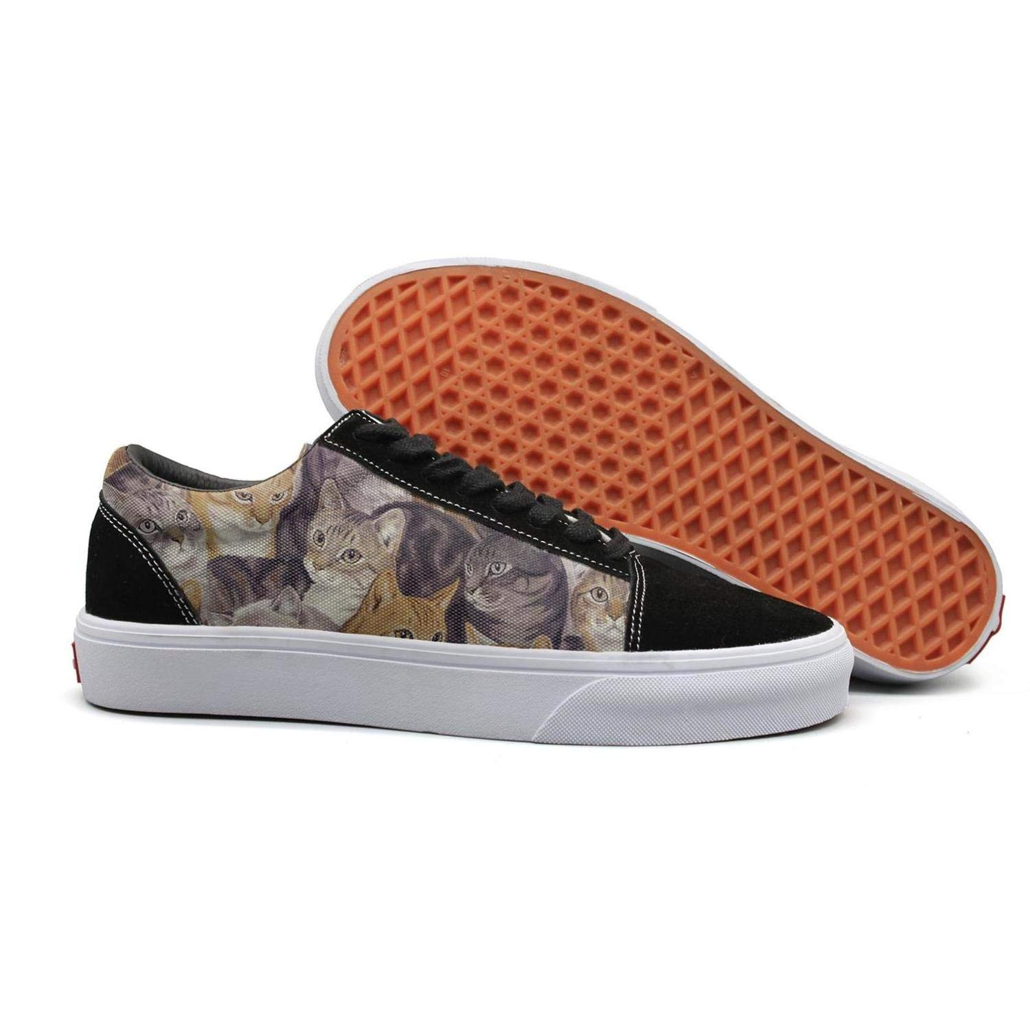 Pheomg Women Packed cats-01 Print Casual Slip-on Canvas Shoes Cute Casual Shoes