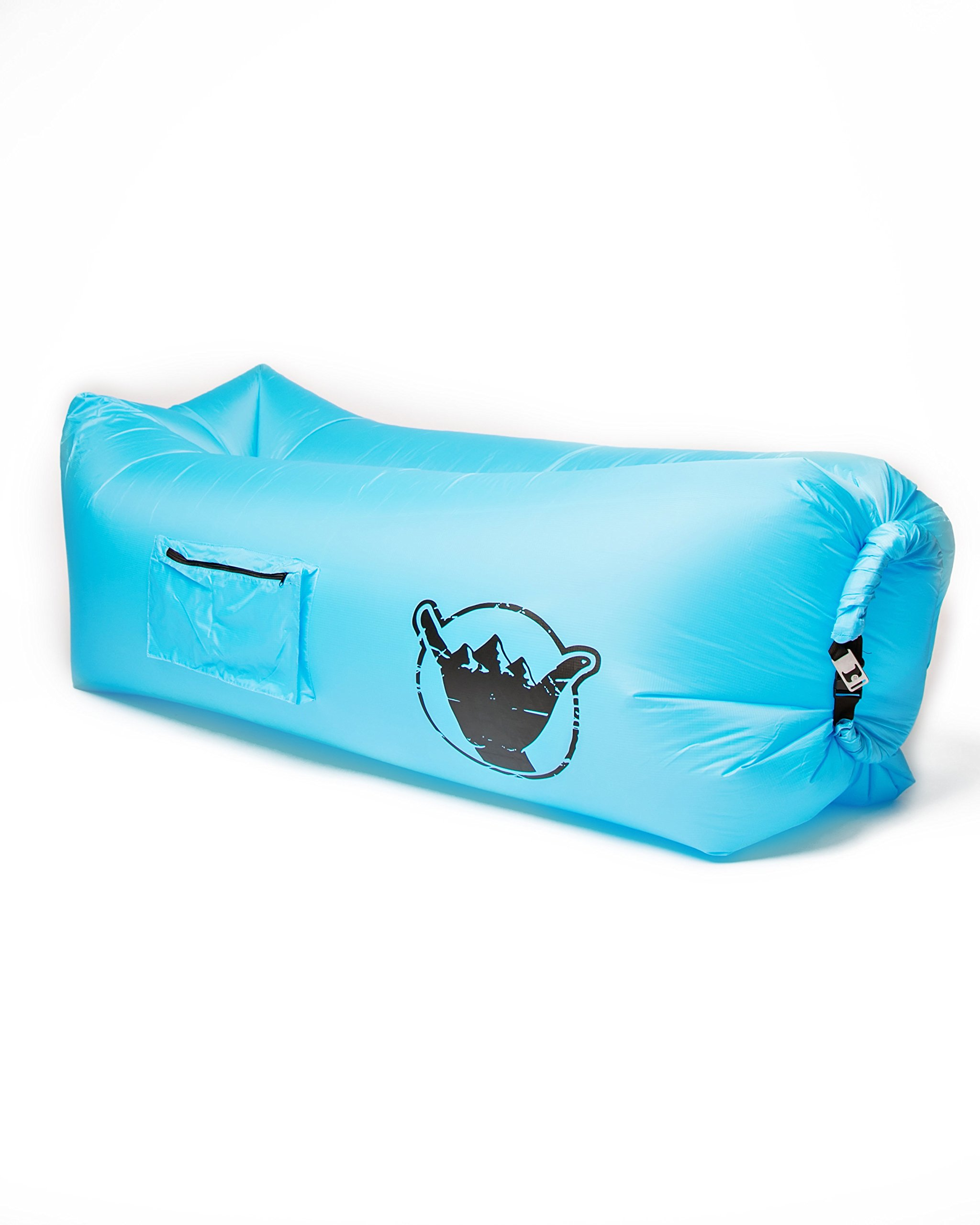 SweetSon Inflatable Lounger- Carry Bag, Securing Stake, Bottle Opener, Cup Holder, Large Pocket with Zipper - Lightweight, Durable, Portable - Beach, Pool and Camping - Outdoor and Indoor Use (Blue) by SweetSon