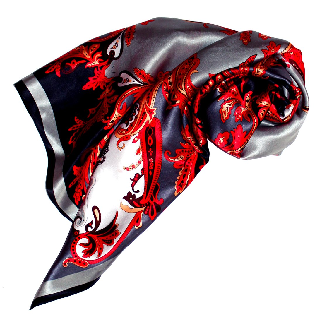 LORENZO CANA - Italian Scarf 100% Silk 35'' x 35'' Grey Red White Black Paisley - 89027