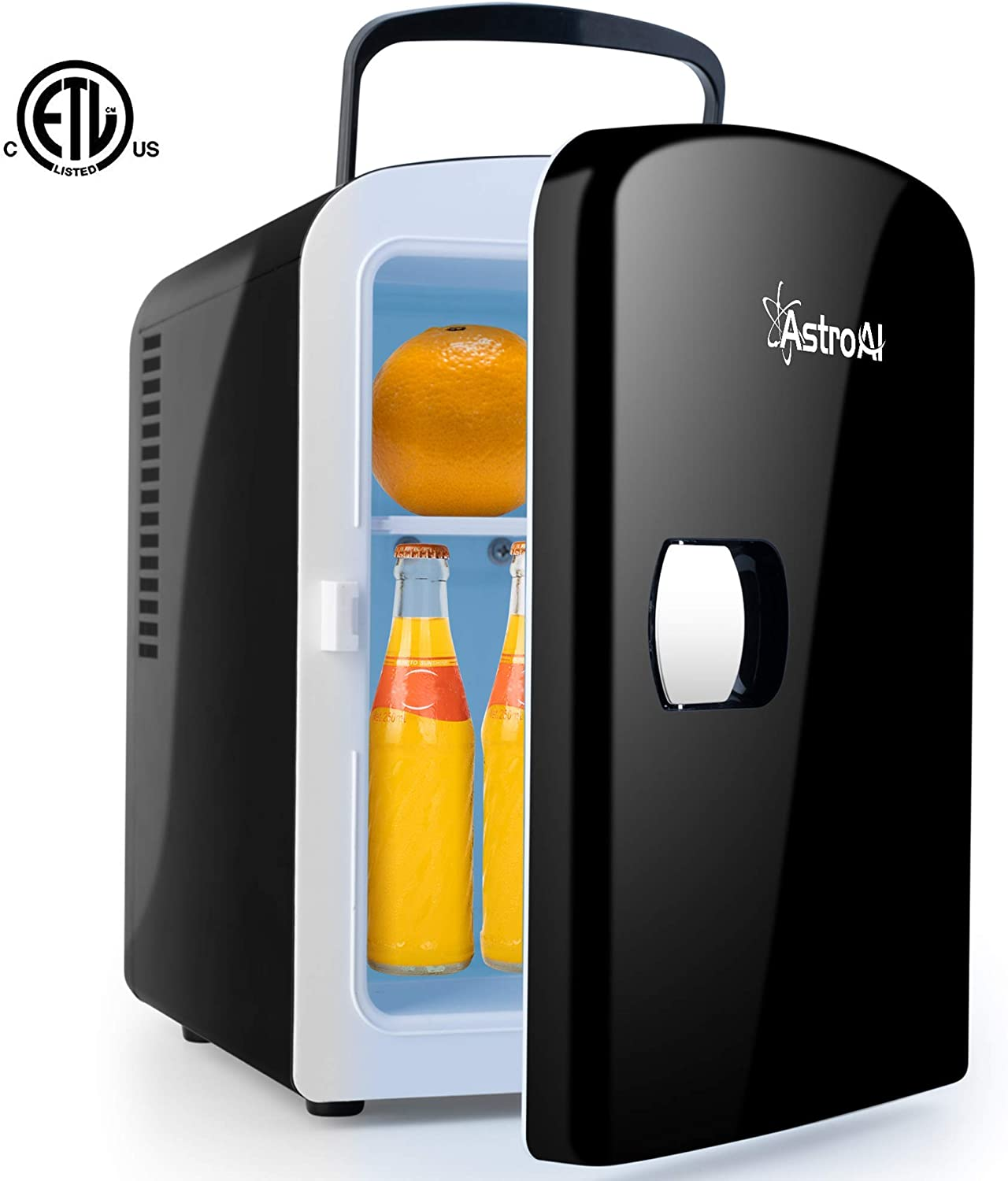 AstroAI Mini Fridge Portable AC/DC Powered Thermoelectric System Cooler and Warmer 4 Liter/6 Can for Cars, Homes, Offices, and Dorms,Black (Renewed)