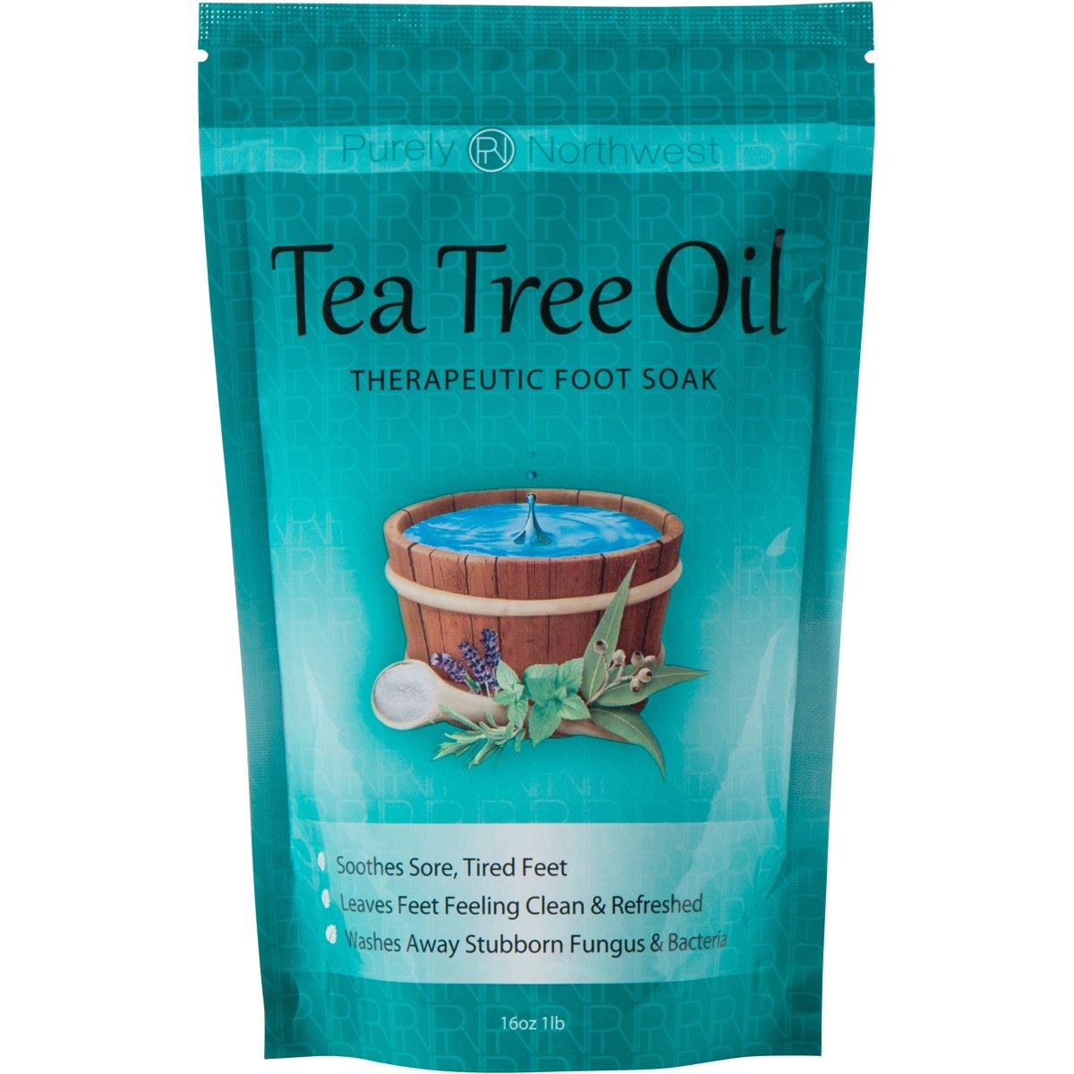 Tea Tree Oil Foot Soak With Epsom Salt, Helps Treat Nail Fungus , Athletes Foot & Stubborn Foot Odor 16oz by Purely Northwest