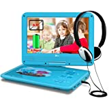 "DR.J 5 Hours 9.5"" Kids Portable DVD Player with Built-in Rechargeable Battery and USB/SD Card Reader, 5.9ft Car Charger & AC Battery Adapter"