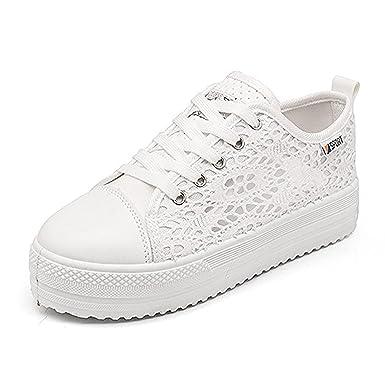 Minetom Donna Tela Lace Up Cavo Traspirante Sneaker Scarpe da Ginnastica  Basse Estive Sportive Platform Plateau Shoes