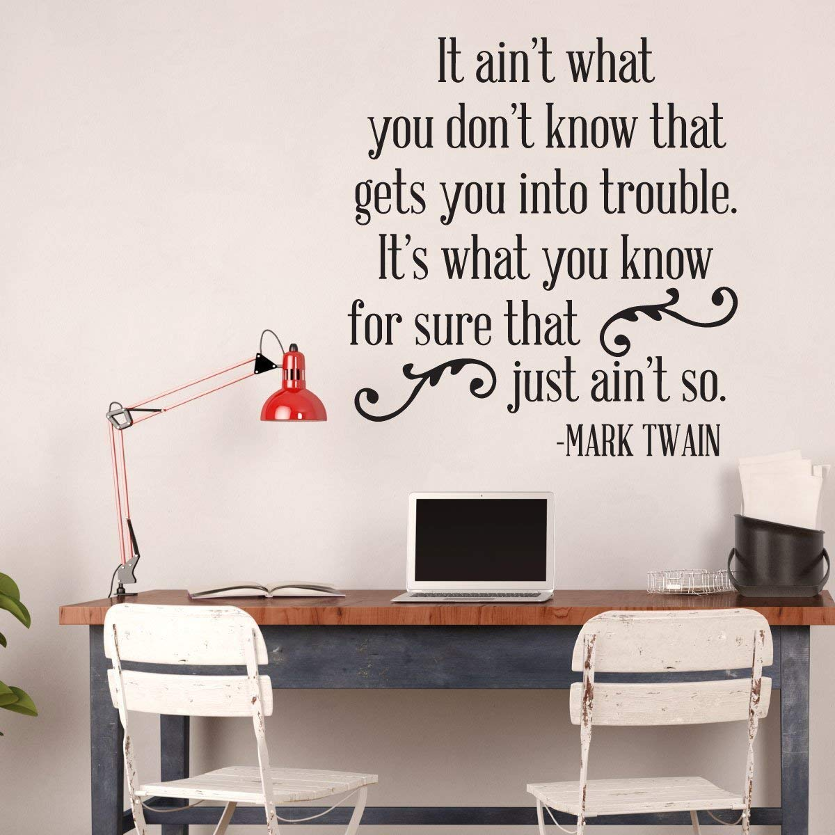 Brown Large Sizes Vinyl Decor Saying for Decorating Home Light Dark Colors Small It Aint What You Dont Know Red White Black Mark Twain Quote Wall Decal School Classroom Restaurant