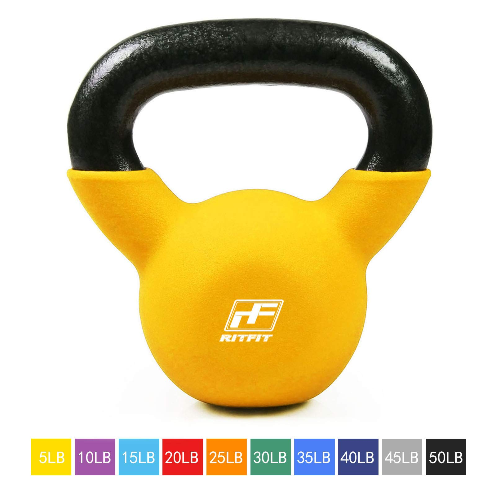 RitFit Neoprene Coated Solid Cast Iron Kettlebell - Great for Full Body Workout, Cross-Training, Weight Loss & Strength Training (5/10/15/20/25/30/35/40/45/50 LB) (5LB(Yellow))