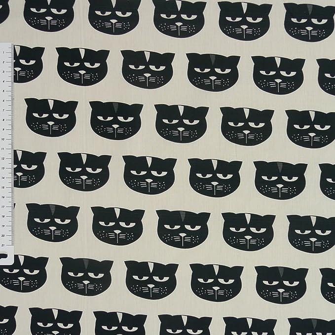 Baumwollstoff Katzen taupe bunt 1,4m Breite