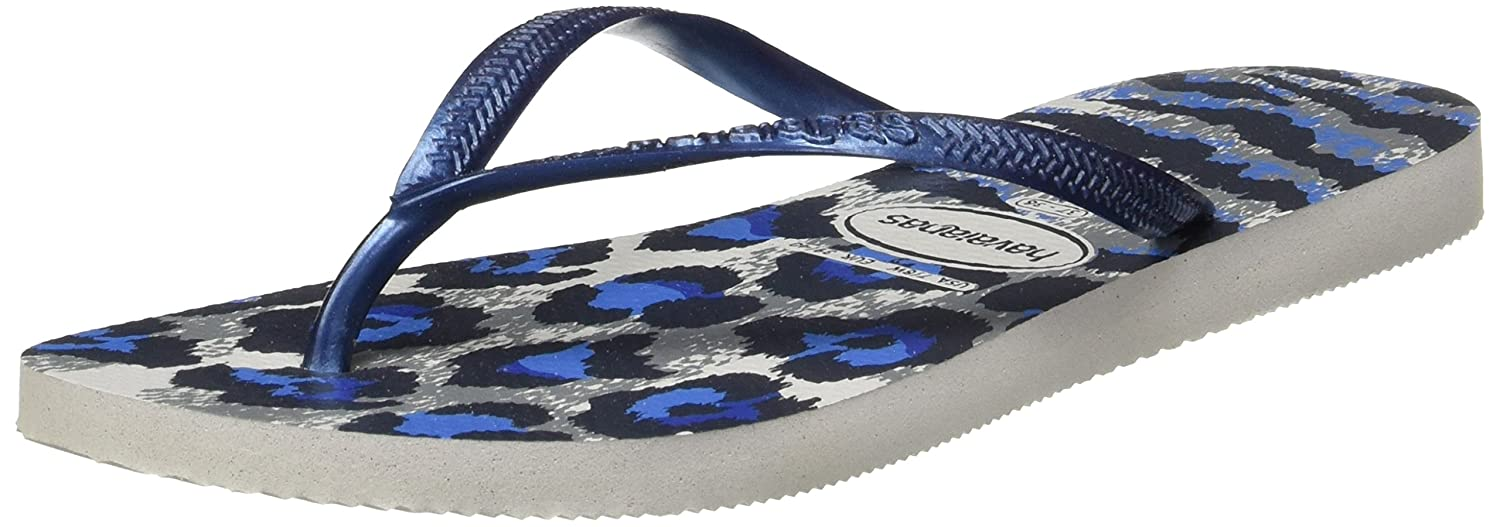 a77ac1ac5d0c1 Havaianas Slim Animal Flip Flops - Ice Grey Navy Blue  Amazon.co.uk  Shoes    Bags