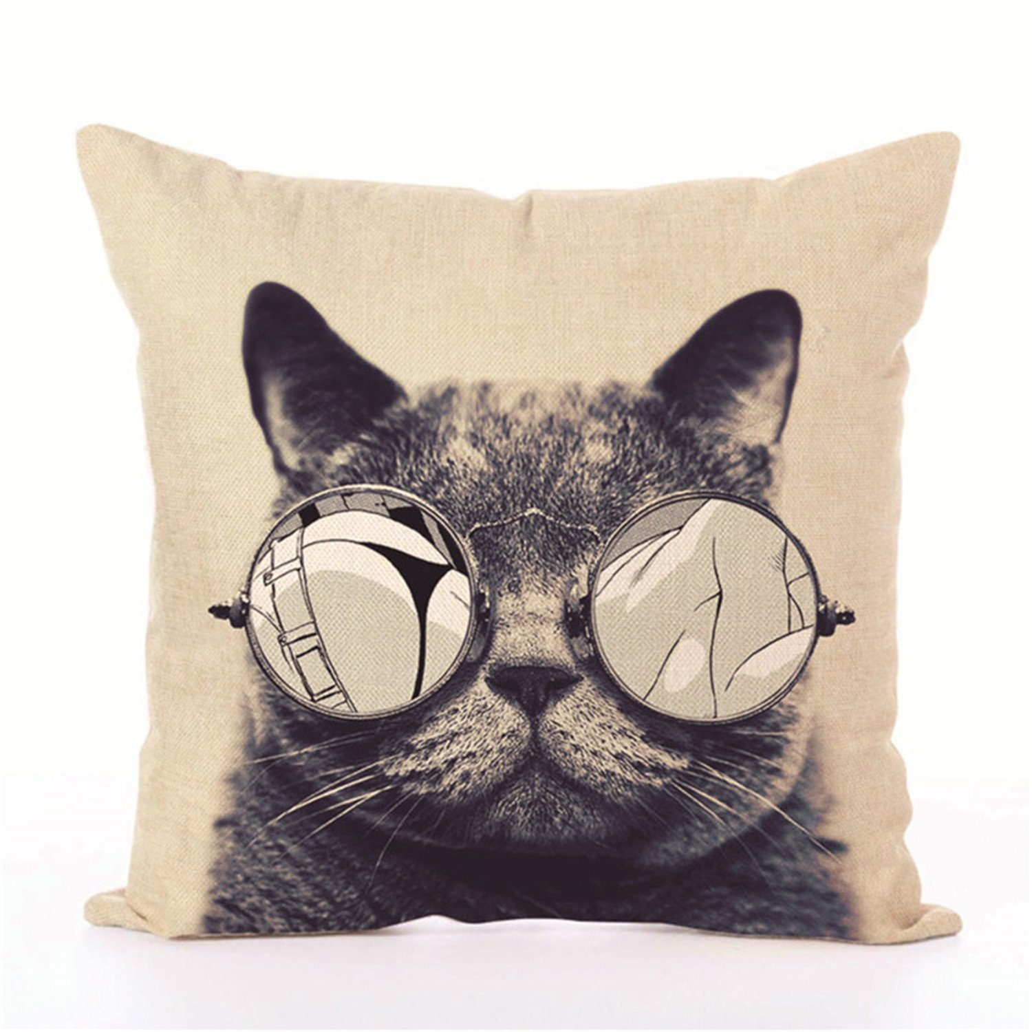 MRxcff Simple Colorful Cute Cat Style Pillow Cover Home Room Hotel Quality Decorative Pillowcase Bedroom Custom Hot Animal Pillow Cover Pillow Cover 14 45X45Cm
