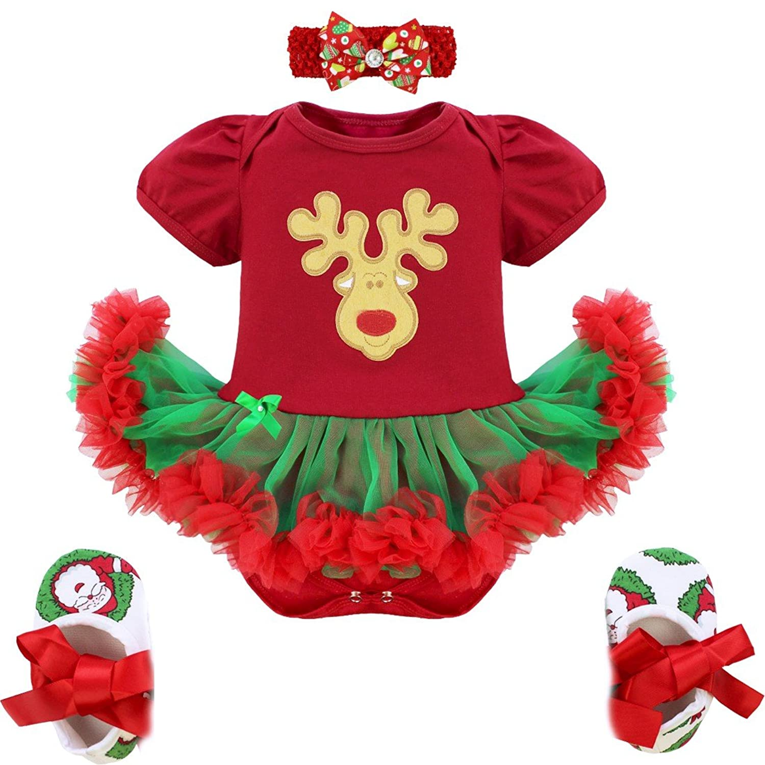 YiZYiF My First Christmas Tree Santa Jumpsuit Girls Tutu Outfit Baby